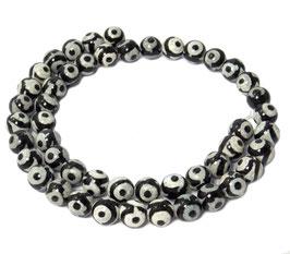 Achat DZI Beads weiße Kugeln mit schwarzem Kreismuster 8 mm - Strang