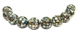 Abalone Mosaik-Kugeln 10 mm Perlen (Paua / Seeohren / See-Opal / Perlmutt) - 10 Stück
