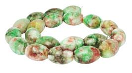 Malaysische Jade große mehrfarbige Oliven ca. 20x14 mm - Strang
