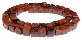 Mahagoni Obsidian Würfel 6 mm - Strang
