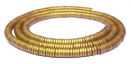 Hämatit dünne runde Scheiben matt gold ca. 4x1 mm Heishi-Perlen - Strang