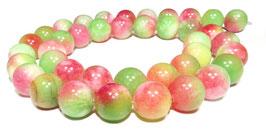 Mashan Jade Kugeln in fuchsia - grün - gelb 10 mm - Strang