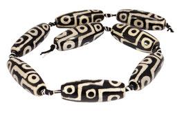 """Achat DZI Beads """"Neun Augen"""" schwarze Oliven mit Muster ca. 14-16 x 40 mm - Perlen"""