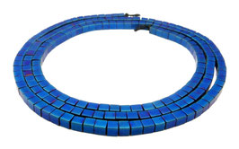 Hämatit mattierte blaue Würfel ca. 2 mm - Strang
