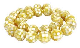 Muschel Mosaik-Kugeln 14 mm gold-gelbe Perlen - Strang
