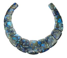 Impressionen Jaspis Komposition mit Pyrit blaue Trapez-Scheiben gestaffelte Größe -  Set / Strang