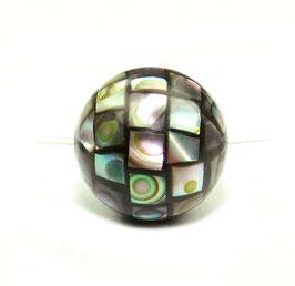 Abalone Mosaik-Kugeln 14mm Perlen (Paua / Seeohren / See-Opal / Perlmutt) - 1 Perle