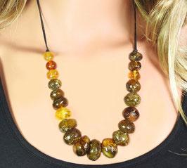 Bernstein Halskette multicolor Rondelle