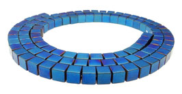 Hämatit mattierte blaue Würfel ca. 4 mm - Strang
