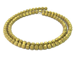 Hämatit matt goldfarbene hexagonale Perlen ca. 4 mm - Strang