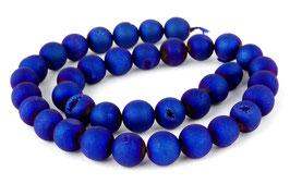 Drusenachat matt blaue Kugeln z.T. mit Kristallen 10 mm - Strang