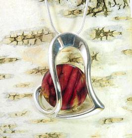 """Heidekraut großer """"Fancy Heart"""" - Anhänger an versilberter Halskette"""