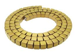 Hämatit Würfel matt gold ca. 4 mm - Strang