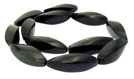 Schwarzes Horn lange gedrehte Vierkant-Oliven ca. 35x12 mm - Hornperlen Strang