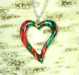 """Heidekraut """"Heart Frame"""" großes geschwungenes Herz - Anhänger an versilberter Halskette"""