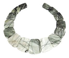 Netz-Jaspis Trapez-Scheiben in gestaffelter Größe - Strang