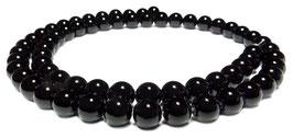Schwarzer Obsidian Kugeln 6 mm - Strang