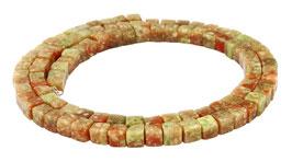 Unakit Würfel ca. 4 mm Perlen Strang