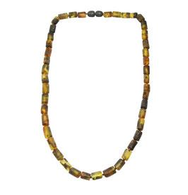 Bernstein Halskette (Frauen & Männer) gelb-schwarz mattiert