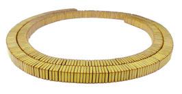 Hämatit quadratische Scheiben matt gold ca. 4x1 mm Heishi Perlen - Strang