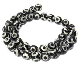 Achat DZI Beads weiße Kugeln mit schwarzem Kreismuster 10 mm - Strang