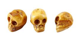 Knochen-Perlen Totenkopf Totenschädel ca. 15x15x13 mm Set (3 Stück)
