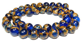 Jade Komposition Kugeln Blau mit goldenem Schimmer 8 mm - Strang