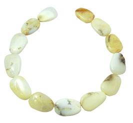 Weißer Opal (Kascholong / Milchopal) ovale Scheiben ca. 28-30 mm Edelsteinperlen Strang