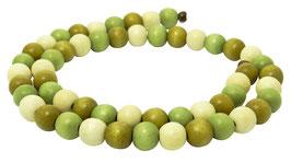Farbige Holzperlen: olivgrün-lindgrün-cremeweiß 8 mm - Strang bunter FARBEN-MIX 13