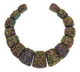 Achat Scheiben mit Pyrit bunt galvanisierte Trapeze Perlen Set