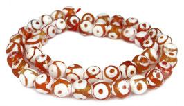 Achat DZI Beads facettierte Kugeln orange-rot & weiß mit Kreismuster 8 mm - Strang