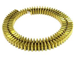 Hämatit gewölbte goldfarbene quadratische Scheiben ca. 6x3 mm - Strang