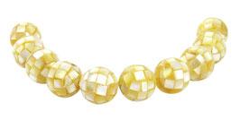 Muschel Mosaik-Kugeln 14 mm gold-gelbe Perlen - 10 Stück