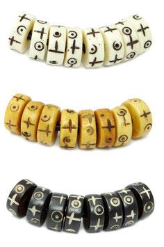 Ochsenknochen Heishi Perlen Räder 10x4mm in 3 Farben mit Gravur 8 St. (0,70€/St) Mala Perlen