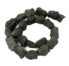 Lava quaderförmige Natur Nuggets ca. 15-20 mm - Strang