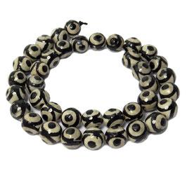 Achat DZI Beads facettierte weiße Kugeln mit schwarzem Kreismuster 10 mm - Strang