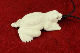 "Frosch / Kröte ""Symbol der Wandlung"" Anhänger / Perle aus Wasserbüffelknochen ~ Handarbeit ~"