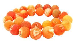 Drusenachat orange Kugeln z.T. mit Drusen Kristallen 14 mm - Strang