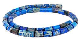 Impressionen Jaspis blaue Walzen ca. 8x6 mm - Strang