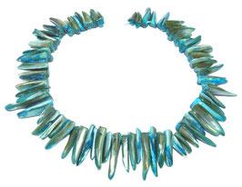 Muschelsplitter blau-türkise Perlen ~7-9 x 25-35mm  - Strang