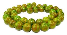 Mashan Jade Kugeln gelbgrün-grün-orangerot 10 mm - Strang