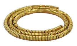 Hämatit matt goldene sechseckige Scheiben / Heishi Perlen ca. 4x1 mm - Strang