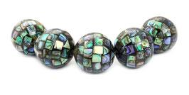 Große Abalone Mosaik-Kugeln 25 mm XXL Perlen (Perlmutt / Paua) - 5 Stück