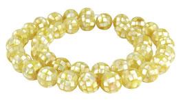 Muschel Mosaik-Kugeln 10 mm gold-gelbe Perlen - Strang