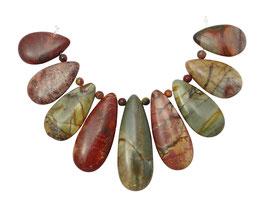 Picasso Jaspis Tropfen in gestaffelter Größe Perlen - Set