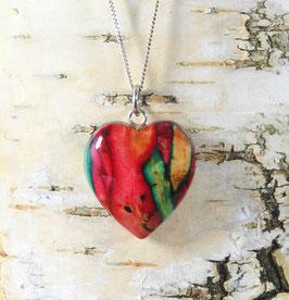 Heidekraut Herz-Anhänger (klein) an Sterling-Silber Halskette