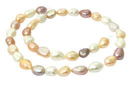 Süßwasserperlen Nuggets Farben-Mix (rosa, lila, weiß) ca. 9-12 mm Perlen Strang