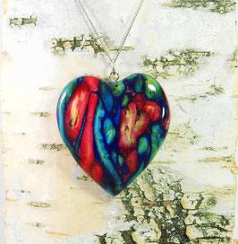 Heidekraut Herz-Anhänger (groß) an Sterling-Silber Halskette