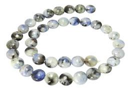 Blauer Opal gewölbte Münzen ca. 10 mm Perlen Strang