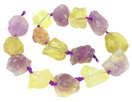 Amethyst und Lemon Quarz naturbelassene Nuggets ca. 20-30 mm - Strang